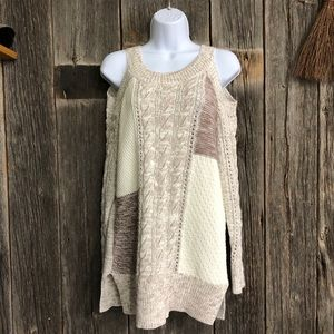 White and Brown Colorblock Knit Sweater